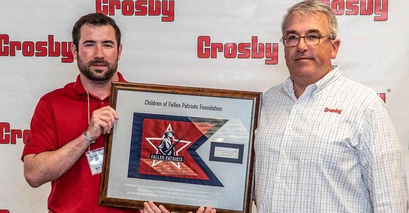 Fallen Patriots presents Crosby a commemorative plaque