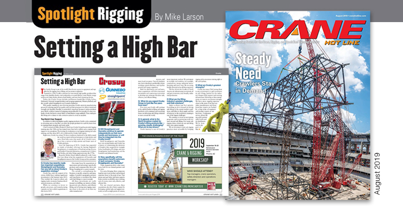 Setting High Bar Crane Hot Line article on Crosby, Gunnebo Industries, and Straightpoint